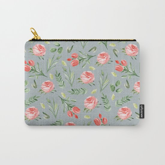 Roses. Grey pattern Carry-All Pouch