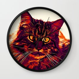 squinting maine coon cat vector art late sunset Wall Clock