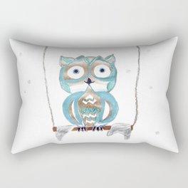 Owl Fun #2 #blue #gold #drawing #decor #art #society6 Rectangular Pillow