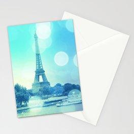 Paris Bokeh Aqua Stationery Cards