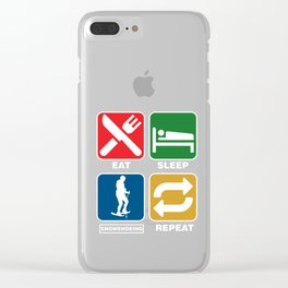 Snow Shoes Ice Skiing Snowboard Sledding Ski Jumping Ice Skii Eat Sleep Snowshoeing Repeat Gifts Clear iPhone Case