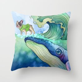 Whale Surfing Throw Pillow