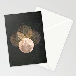 Full Moon Phase Retro Surreal Boho Lunar Mystical Illustration  Stationery Cards