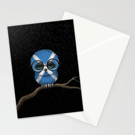 Baby Owl with Glasses and Scottish Flag Stationery Cards