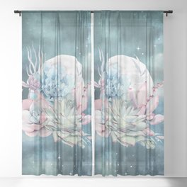 Teal Succulents Full Moon Night Sky by Nature Magick Sheer Curtain