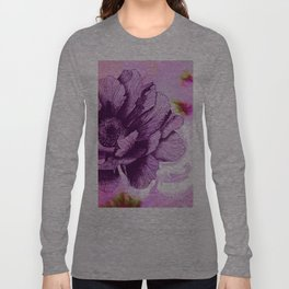 Hand Drawn Peony Flower with Watercolour Background Long Sleeve T-shirt