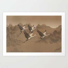 Cranes Flying Over Mongolia Art Print