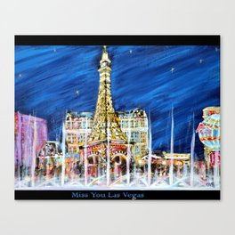 Miss You Las Vegas. Black. Painting. Inspirations Collection Canvas Print