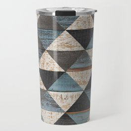 Weathered wood texture background. Seamless vintage wooden wall. Old rough wooden surface. Grunge parquet floor with triangle pattern.  Travel Mug