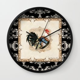 Kitchen Rooster Colored Dorking Watercolor Damask Vintage Style Wall Clock