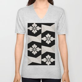 Black White Tiles Unisex V-Neck