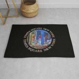 Times Square Broadway New York Badge Emblem (on black) Rug