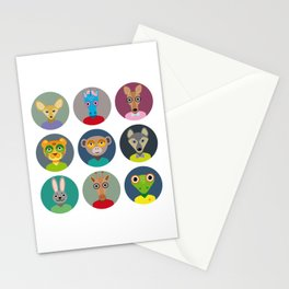 Set of animals faces circle icons set in Trendy Flat Style. zoo Stationery Cards