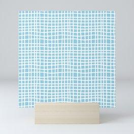 blue random cross hatch lines checker pattern Mini Art Print