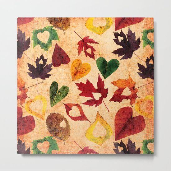 Happy autumn- hearts and leaves pattern Metal Print