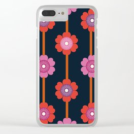 Peace - 70s retro vibes flower power floral flowers pattern art 1970's Clear iPhone Case