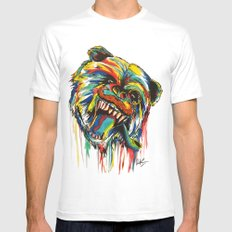 Sophisticated Bear MEDIUM White Mens Fitted Tee