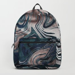 Marble Paint Swirl Trendy Abstract Glitter Rose Gold Pink Teal Turquoise II Backpack
