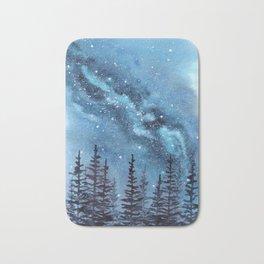 """Adventure Awaits"" watercolor galaxy landscape illustration Bath Mat"