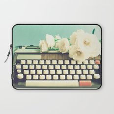Typewriter and roses on mint  Laptop Sleeve