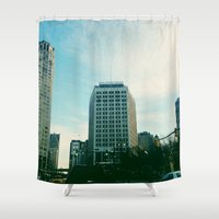 detroit Shower Curtains featuring Downtown Detroit by Michelle & Chris Gerard