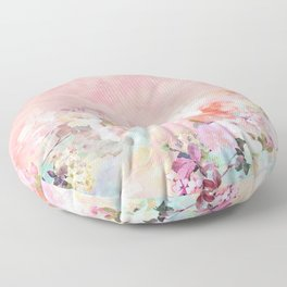 Modern blush watercolor ombre floral watercolor pattern Floor Pillow