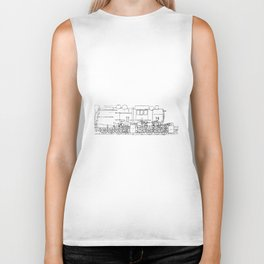 Sketchy train art Biker Tank