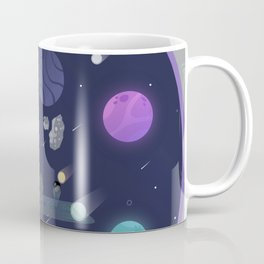 Asteroid ahead (An alien driving a spaceship to an asteroid with the help of a space-cat) Coffee Mug