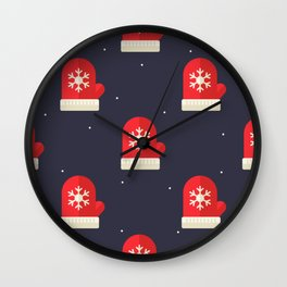 Red Christmas Gloves Pattern Wall Clock