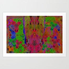 Sugar Skull and Girly Corks (Ultraviolet, Psychedelic) Art Print