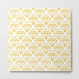 Diamond Jewel Pattern 237 yellow Metal Print
