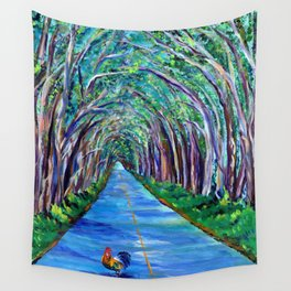 Tree Tunnel with Rooster Wall Tapestry