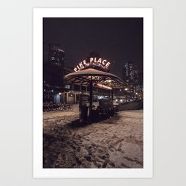Pike Place Snow Stand Art Print