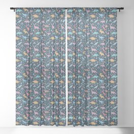Dinosaur + Flowers Pattern Sheer Curtain