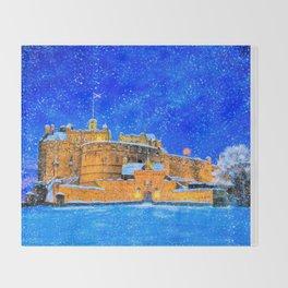 Edinburgh Castle In The Snow On A Winter Night Throw Blanket