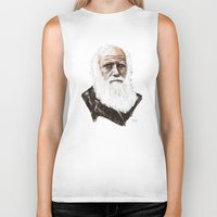 darwin Biker Tanks featuring Darwin - great man by graphicbrain