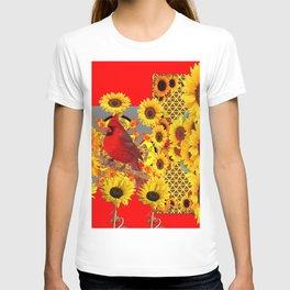 RED CARDINAL BIRD YELLOW SUNFLOWERS  ABSTRACT T-shirt