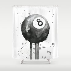 8-Ball Watercolor Black Pool Billiards Eight Ball Art Shower Curtain