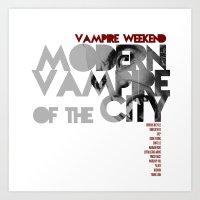 modern vampires of art history Art Prints featuring Vampire Weekend - Modern Vampires of the City / Album Cover Art LP Poster  by FunnyFaceArt