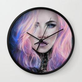 Ambrosial - Futuristic sci-fi girl with pink hair portrait Wall Clock