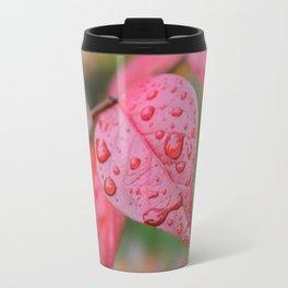 Red Leaf & Raindrops Travel Mug