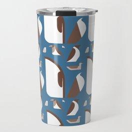 Birds - sepia on blue Travel Mug