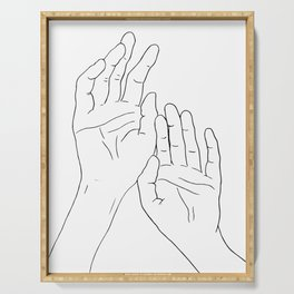 Hands minimal line drawing Serving Tray