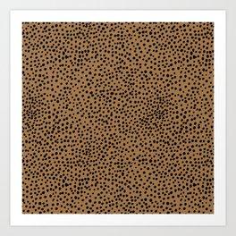 Little wild cheetah spots animal print neutral home trend rust copper black  Art Print
