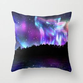 Northern landscape with howling wolf spirit and aurora borealis Throw Pillow