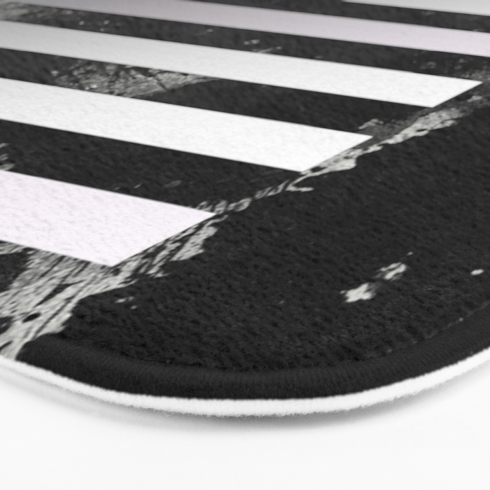Industrial Action - Metallic, black and white, abstract, geometric, textured painting Bath Mat