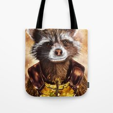 Rocket Raccoon and baby Groot from Guardians of the Galaxy Tote Bag