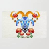 chinese Area & Throw Rugs featuring chinese goat by Manoou