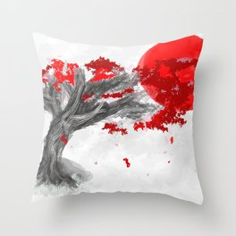 Red Moon Blossom Throw Pillow