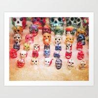 sugar skulls Art Prints featuring Sugar Skulls by Jenndalyn